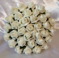 ARTIFICIAL IVORY FOAM ROSE WEDDING BOUQUET FLOWERS PETITE BRIDE BRIDESMAID